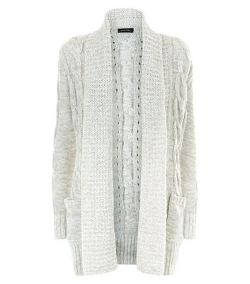 Pale Grey Cable Knit Cardigan New Look