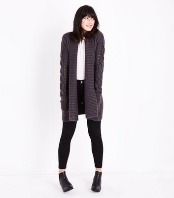 Dark Grey Cable Knit Cardigan New Look