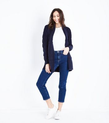 Navy Cable Knit Cardigan New Look