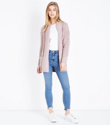 Shell Pink Cable Knit Cardigan New Look
