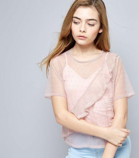 223454a1a ... Girls Pink Spot Print Frill Trim Mesh T-Shirt ...