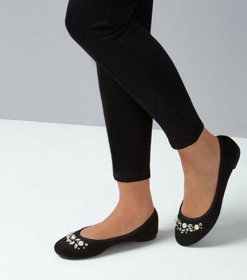 Black Suedette Pearl Embellished Ballet Pumps New Look