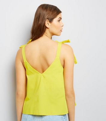 Yellow Tie Strap Cami Top New Look