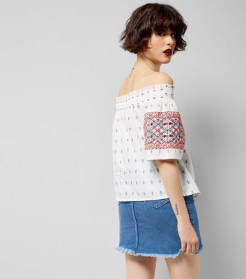 White Embroidered Bardot Neck Top New Look