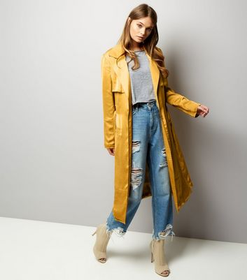 Anita and Green Yellow Sateen Duster Coat New Look