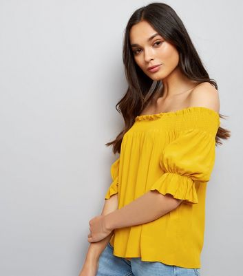 Yellow Shirred Bardot Top New Look