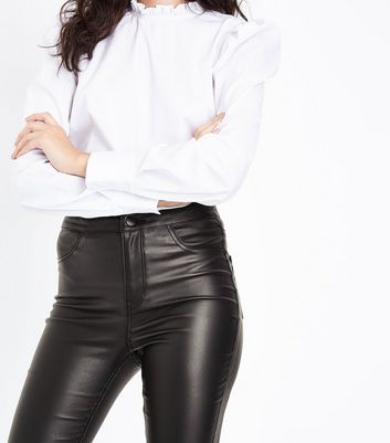 Black Leather-Look High Waist Skinny Hallie Jeans New Look