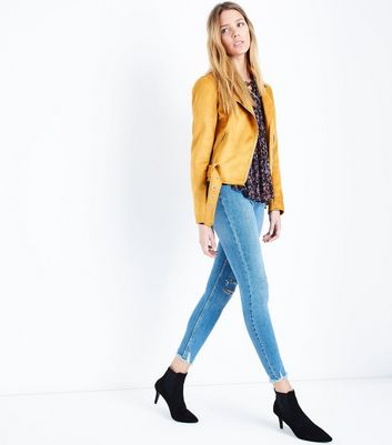 Blue Skinny Ripped Knee Hallie Jeans New Look