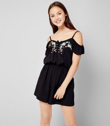 Teens Black Floral Embroidered Lace Up Playsuit New Look