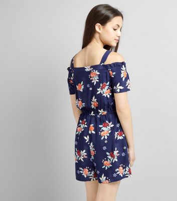 Teens Blue Floral Print Bardot Neck Playsuit New Look