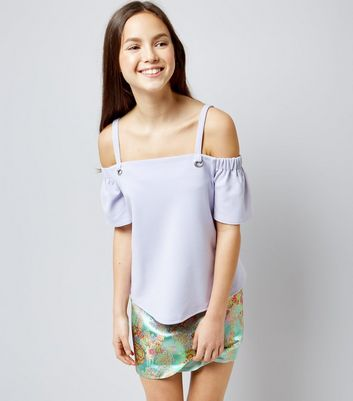 Teens Lilac Eyelet Strap Cold Shoulder Top New Look