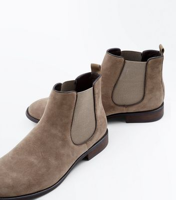 Stone Suedette Chelsea Boots New Look