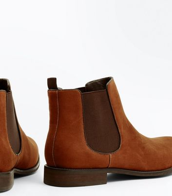 Rust Suedette Chelsea Boots New Look