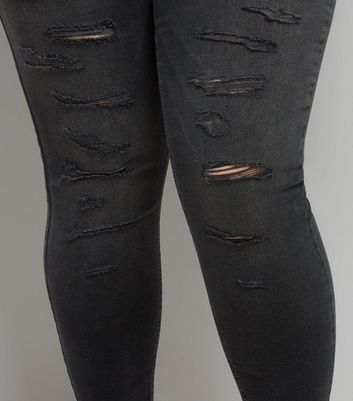 Curves Black Extreme Ripped Skinny Jeans New Look