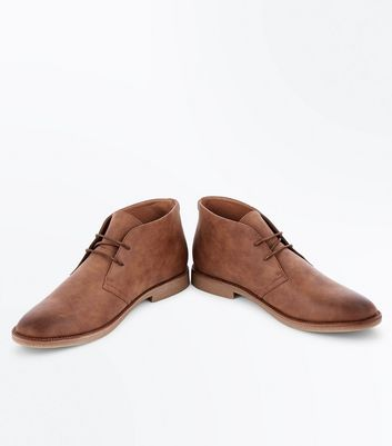 Stone Suedette Desert Boots New Look