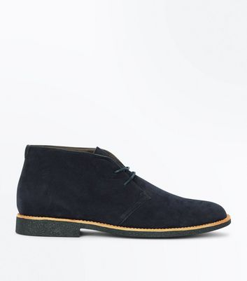 Navy Suedette Desert Boots New Look