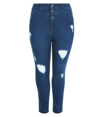 Curves Blue Ripped High Waist Button Front Jeans New Look