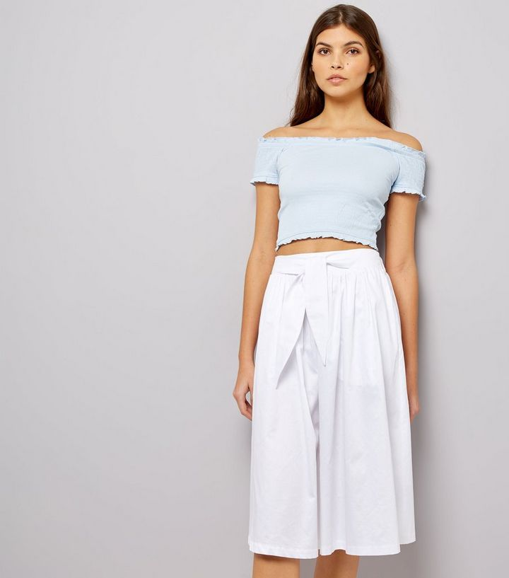 7cee06a6af42 White Tie Waist Midi Skirt | New Look