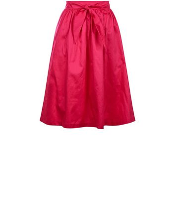 Pink Tie Waist Midi Skirt New Look