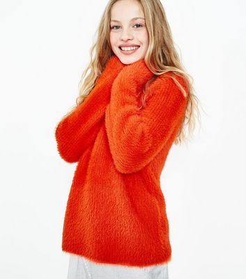 Teens Orange Fluffy Cropped Jumper New Look