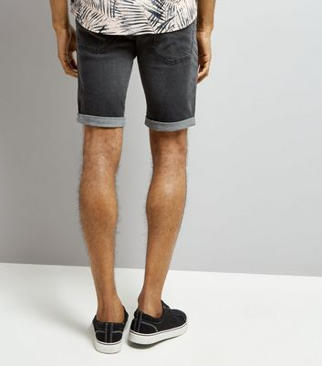 Grey Slim Leg Stretch Denim Shorts New Look
