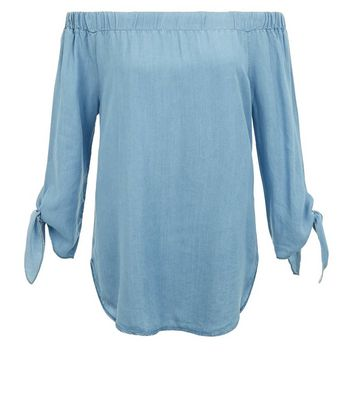 Cameo Rose Blue Bardot Neck Tie Sleeve Top New Look