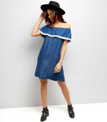 Loving This Blue Denim Bardot Neck Lace Trim Dress New Look