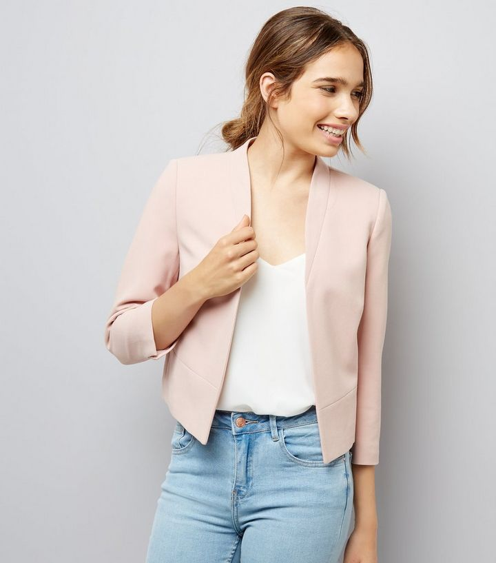 325bd573bfa1 Petite Shell Pink Cropped Jacket | New Look