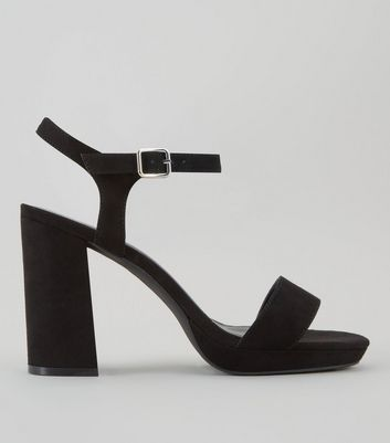 Wide Fit Black Suedette Platform Heels New Look