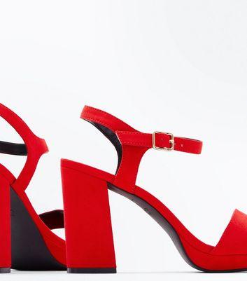 Wide Fit Red Suedette Platform Heels New Look