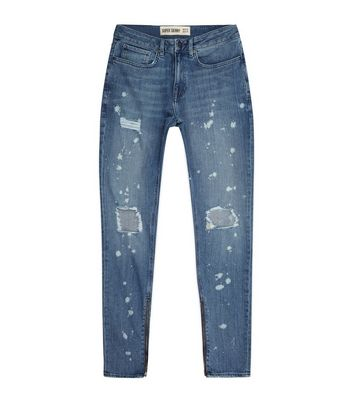 Blue Bleached Spray Ripped Knee Super Skinny Jeans New Look