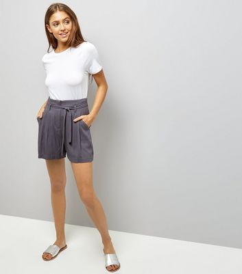 Dark Grey Tie Waist Shorts New Look
