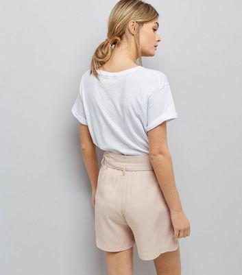 Mid Pink Tie Waist Shorts New Look