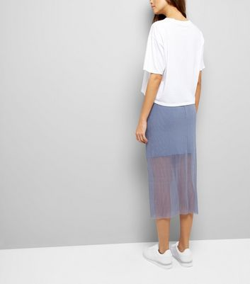 Grey Sheer Pleated Half Lined Midi Skirt New Look