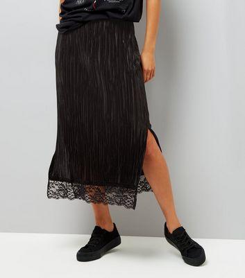 Black Pleated Lace Hem Midi Pencil Skirt New Look