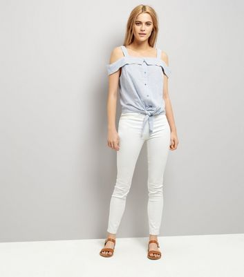 Tall Blue Stripe Seersucker Cold Shoulder Top New Look