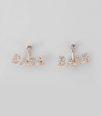 Rose Gold Sparkle Stud Earrings New Look
