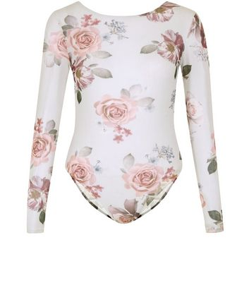 Light Grey Floral Print Mesh Bodysuit New Look