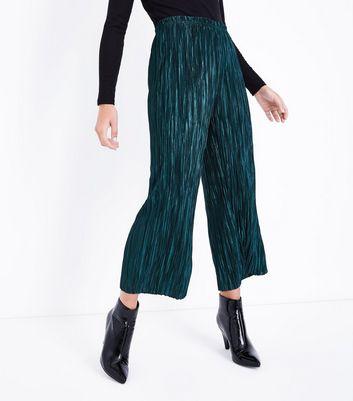 Dark Green Pleated Culottes New Look