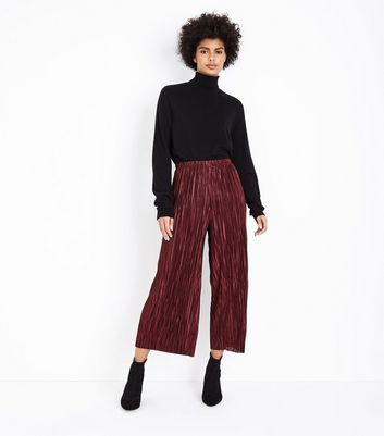 Burgundy Pleated Culottes New Look