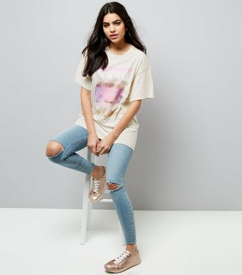 Light Brown Palm Tree Print Ripped Back T-Shirt New Look