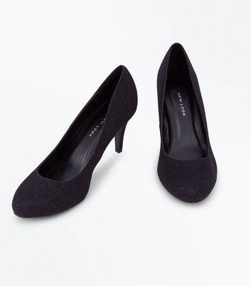 Wide Fit Black Glitter Court Shoes New Look