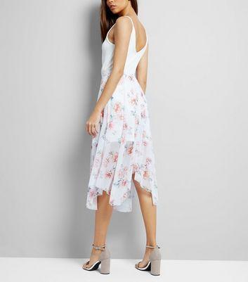 White Floral Print Hanky Hem Midi Skirt New Look