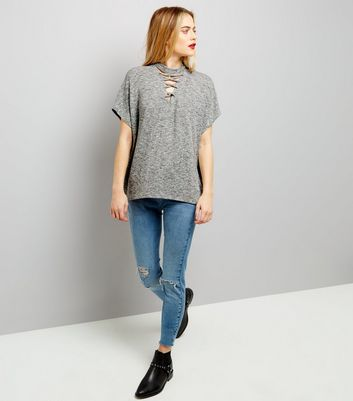 Pale Grey Lattice Front Short Sleeve T-Shirt New Look