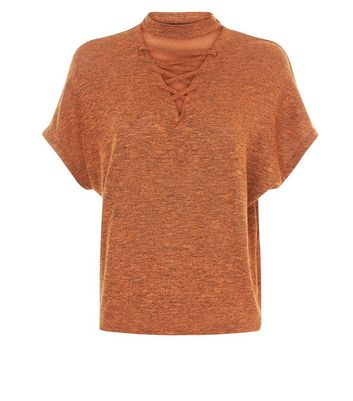 Brown Lattice Front Short Sleeve T-Shirt New Look