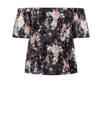 Teens Black Floral Print Flocked Bardot Neck Top New Look