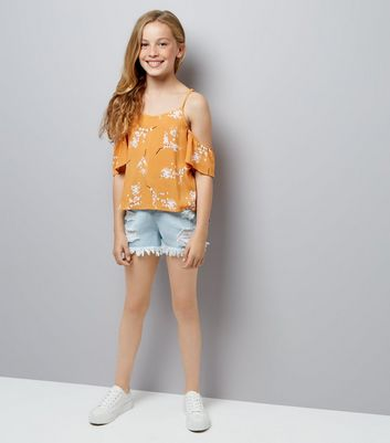 Teens Orange Floral Print Cold Shoulder Top New Look