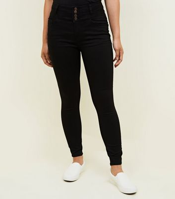 Petite Black 4 Button High Waist Skinny Yazmin Jeans New Look