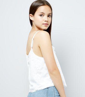 Teens Cream Lace Trim Frill Cami New Look