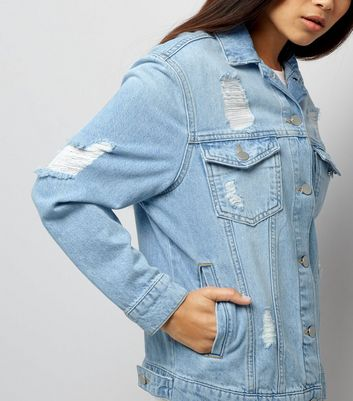 Petite Blue Ripped Oversized Denim Jacket New Look